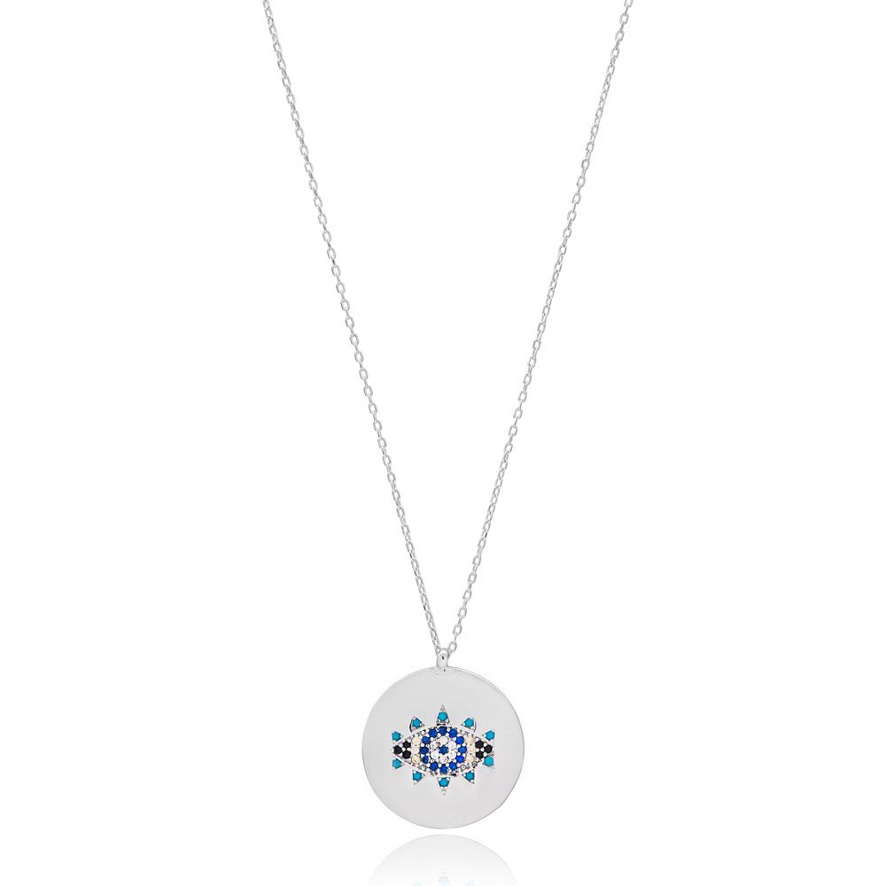 Evil Eye Design Round Shape Wholesale Handmade 925 Silver Sterling Jewelry