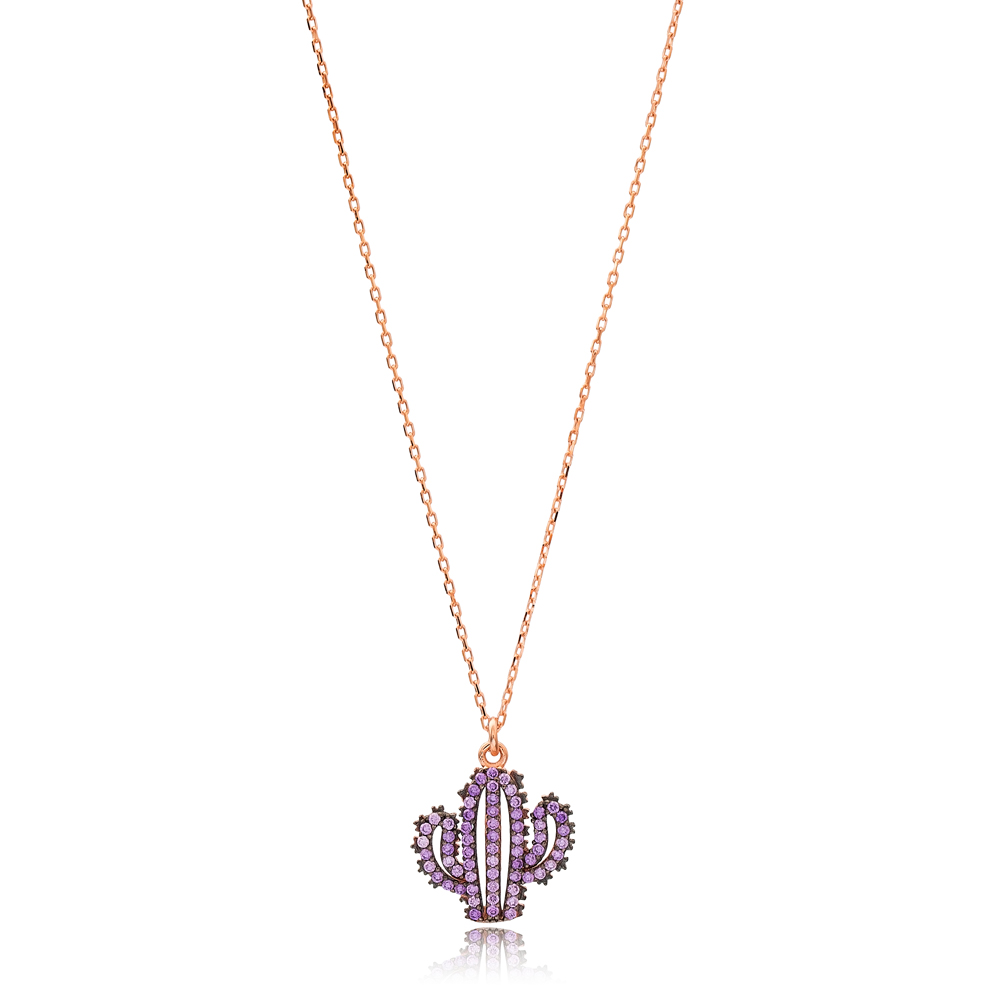 Amethyst Stone Cactus Charm Necklace Wholesale Handmade 925 Silver Sterling Jewelry