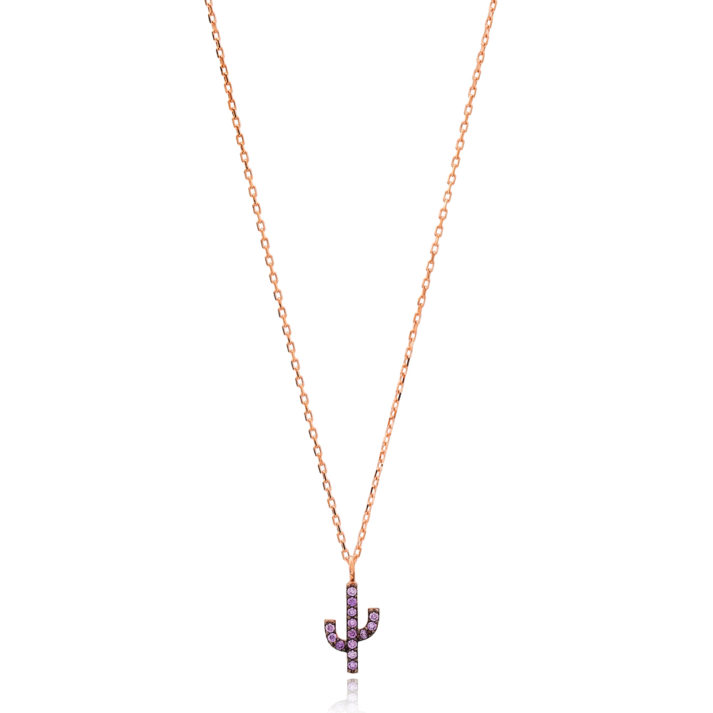 Amethyst Stone Minimal Cactus Necklace Turkish Wholesale Handmade 925 Silver Sterling Jewelry
