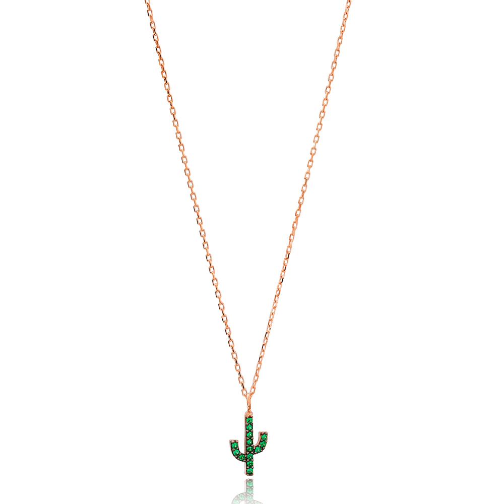 Emerald Stone Minimal Cactus Necklace Turkish Wholesale Handmade 925 Silver Sterling Jewelry