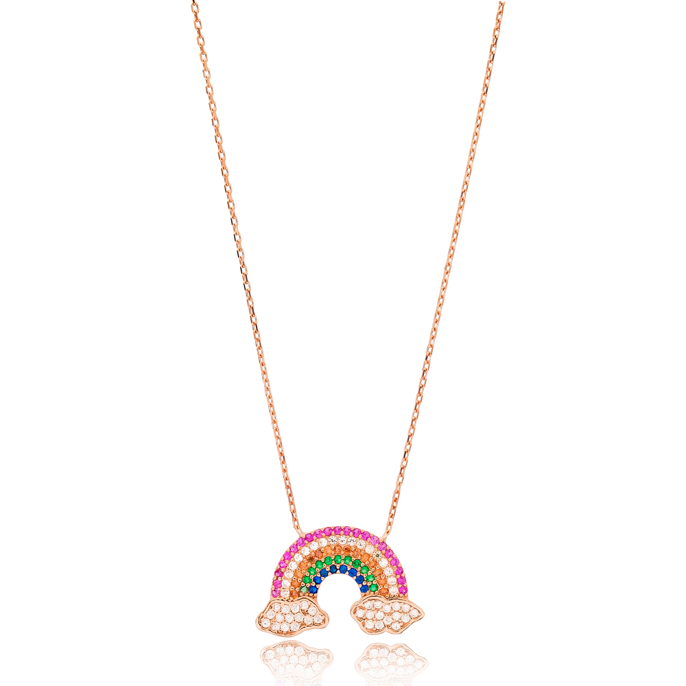 Intertwined Rainbow and Cloud Charm Necklace Turkish Wholesale Handmade 925 Silver Sterling Jewelry