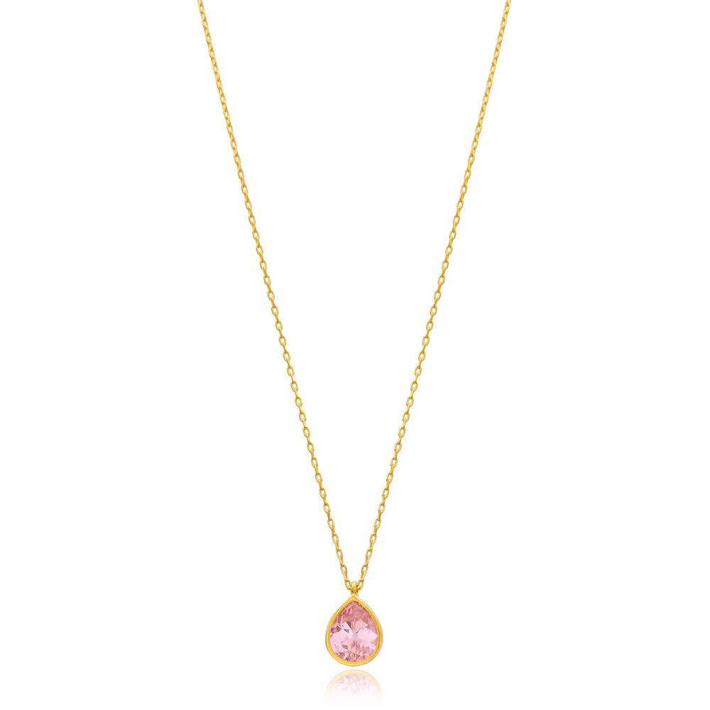 Drop Shape Stone Minimalist Design Wholesale Handmade 925 Silver Sterling Necklace