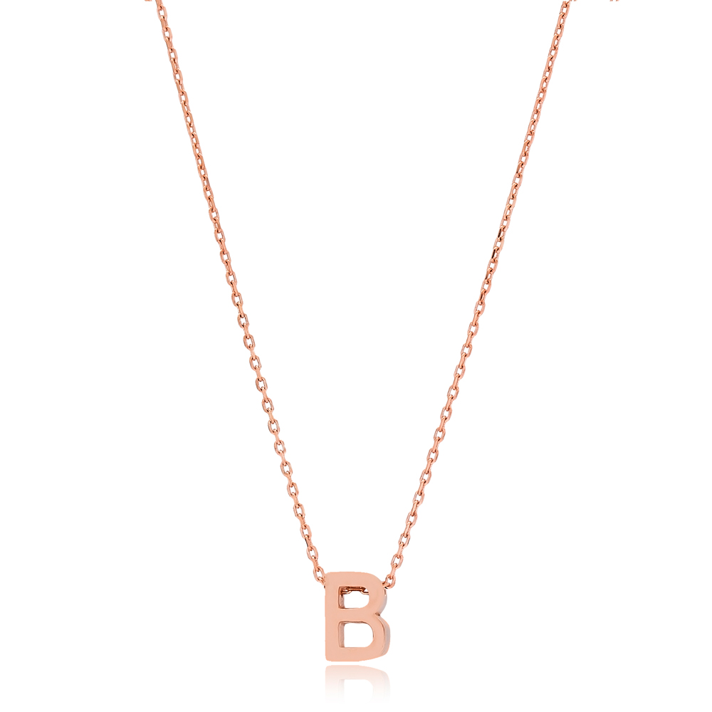Alphabet B Letter Minimalist Design Necklace Turkish Wholesale Handmade 925 Sterling Silver Jewelry