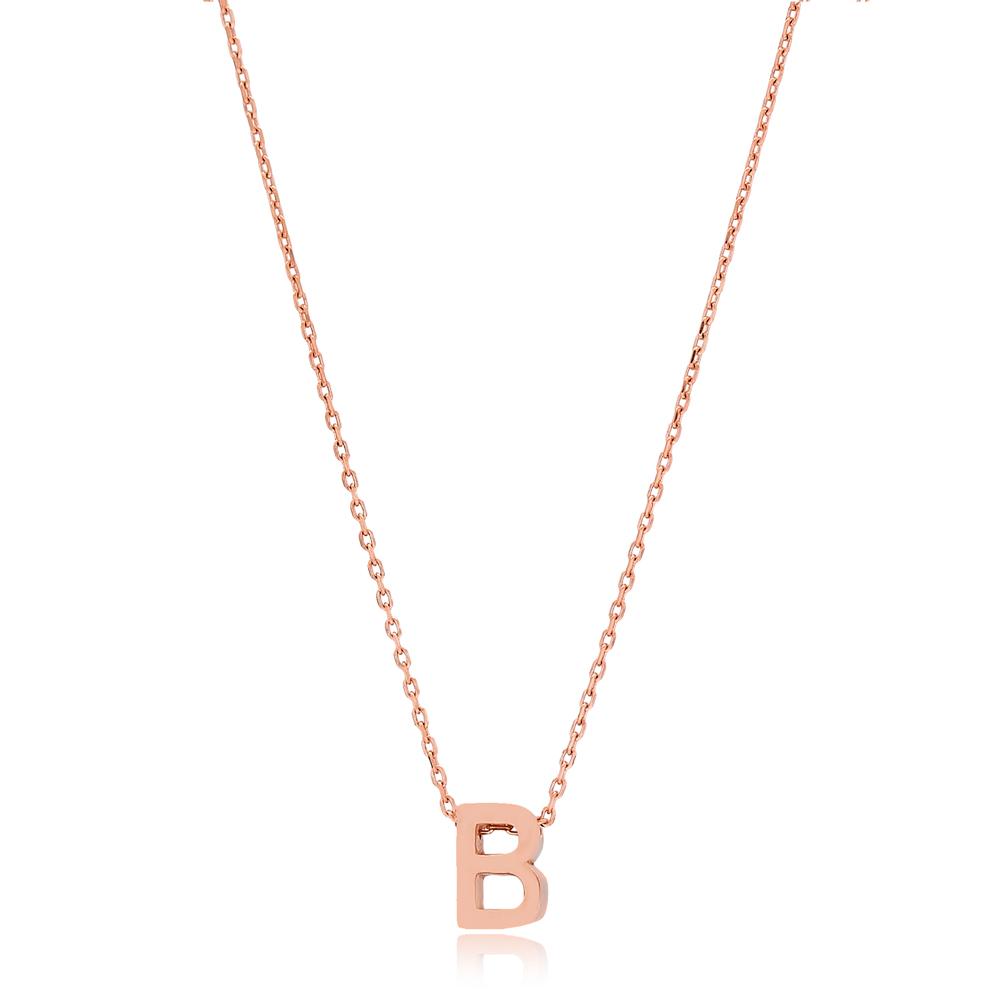 Alphabet B Letter Minimalist Design Necklace Turkish Wholesale Handmade 925 Sterling Silver Jewelry