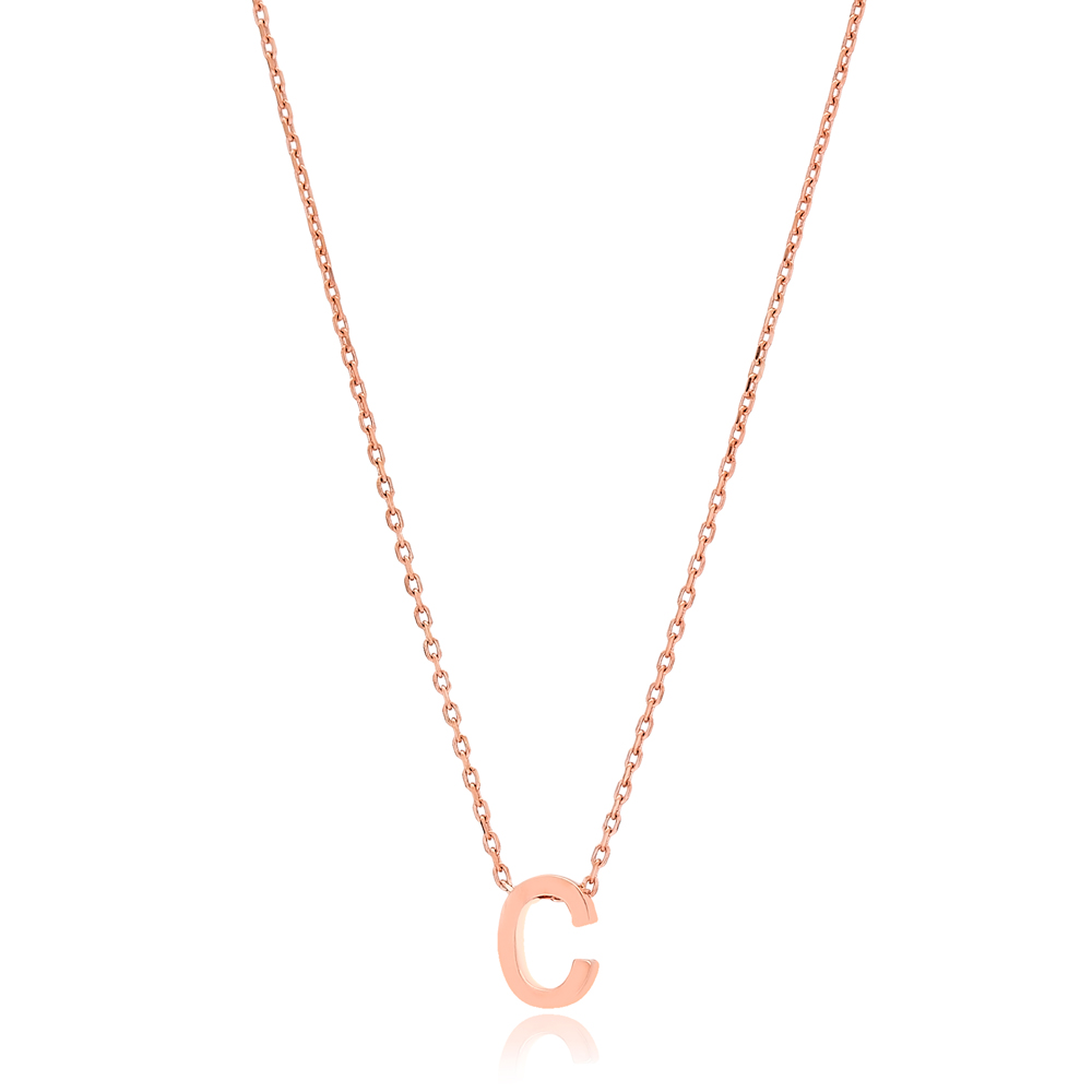 Alphabet C Letter Minimalist Design Necklace Turkish Wholesale Handmade 925 Sterling Silver Jewelry