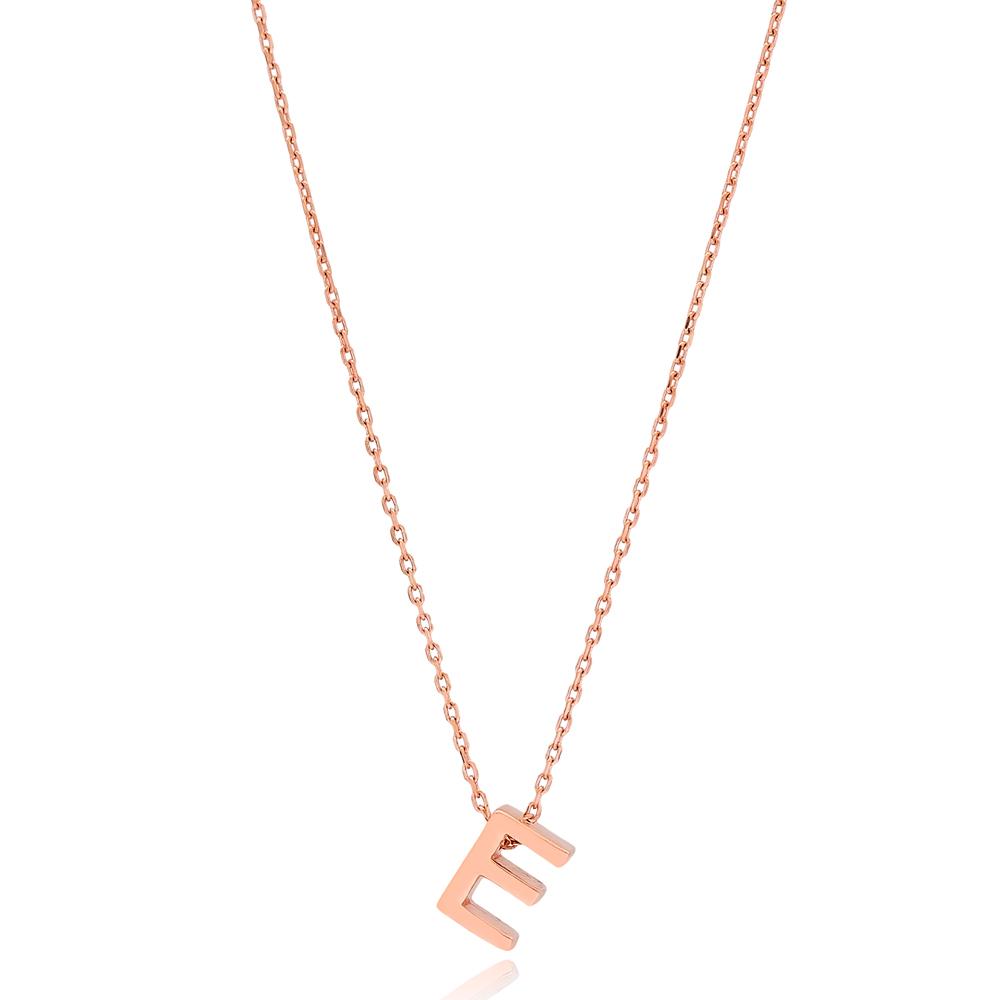 Alphabet E Letter Minimalist Design Necklace Turkish Wholesale Handmade 925 Sterling Silver Jewelry