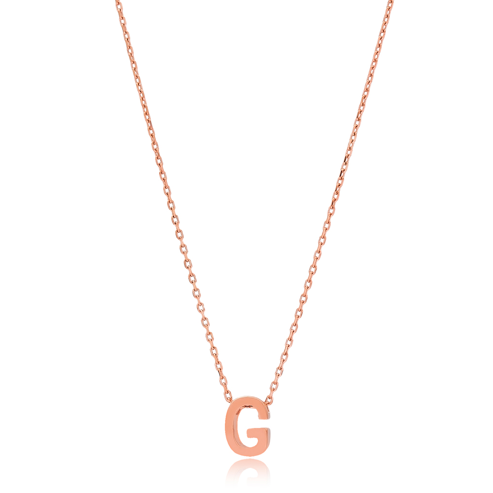 Alphabet G Letter Minimalist Design Necklace Turkish Wholesale Handmade 925 Sterling Silver Jewelry