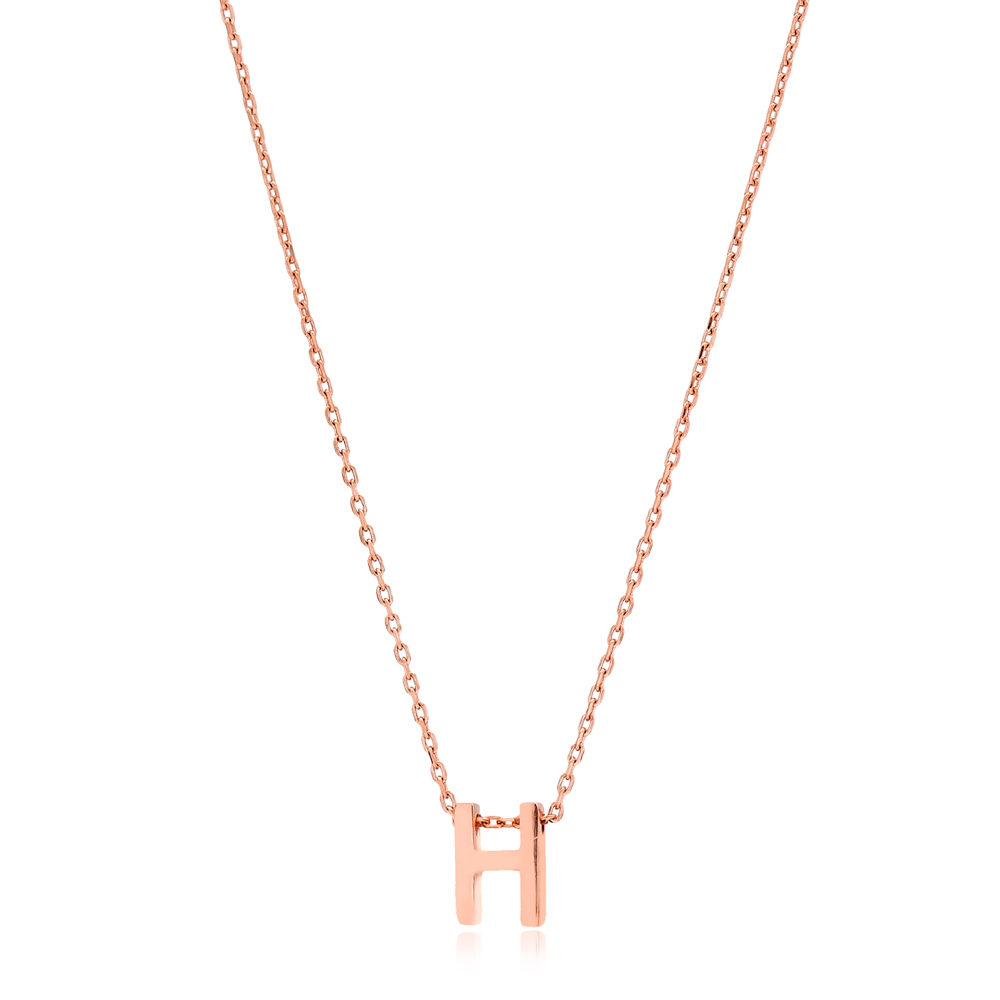 Alphabet H Letter Minimalist Design Necklace Turkish Wholesale Handmade 925 Sterling Silver Jewelry