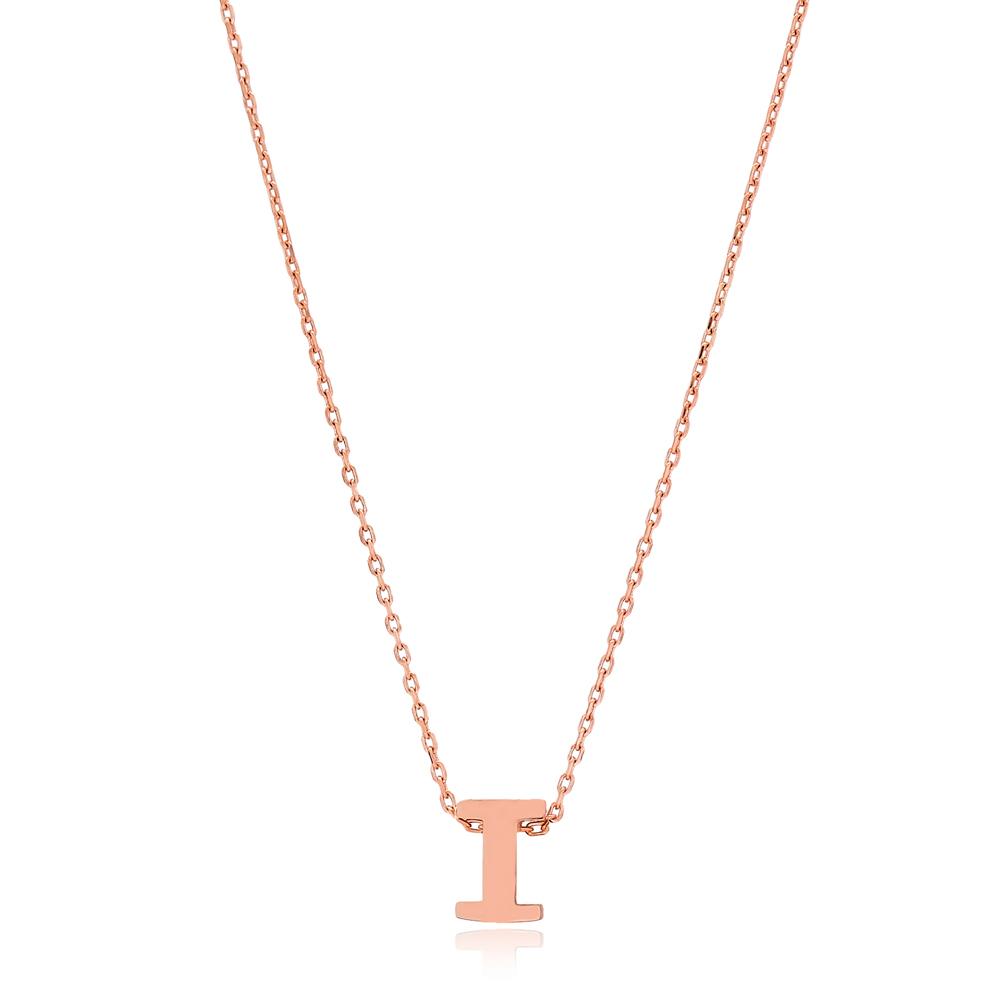 Alphabet I Letter Minimalist Design Necklace Turkish Wholesale Handmade 925 Sterling Silver Jewelry