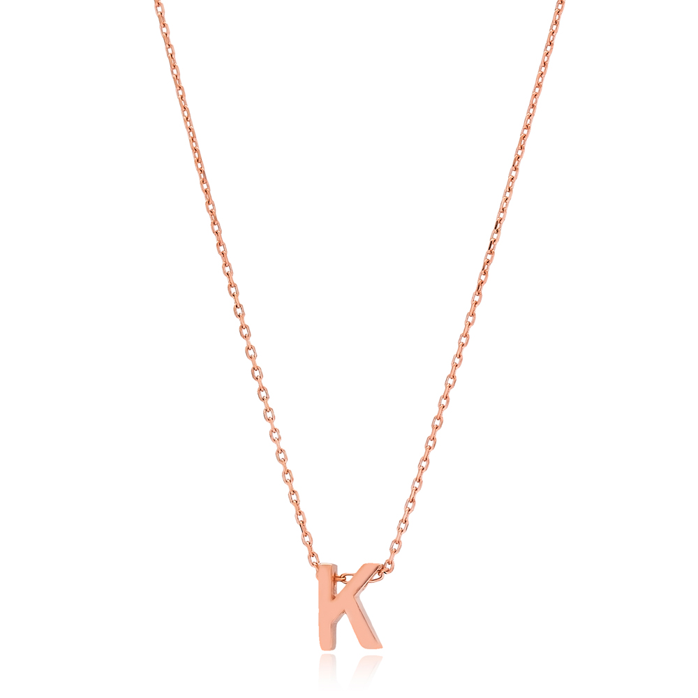 Alphabet K Letter Minimalist Design Necklace Turkish Wholesale Handmade 925 Sterling Silver Jewelry
