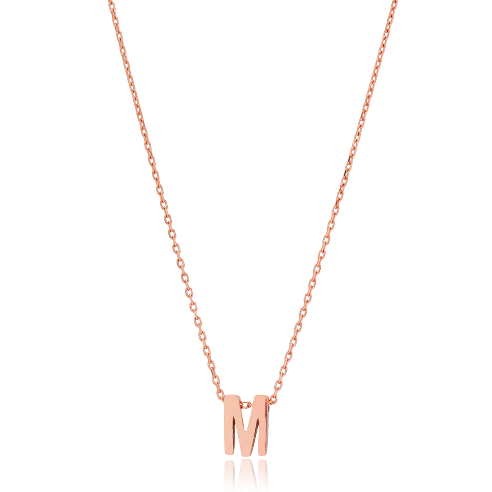 Alphabet M Letter Minimalist Design Necklace Turkish Wholesale Handmade 925 Sterling Silver Jewelry