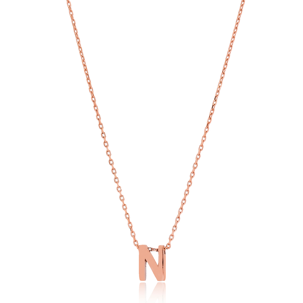 Alphabet N Letter Minimalist Design Necklace Turkish Wholesale Handmade 925 Sterling Silver Jewelry