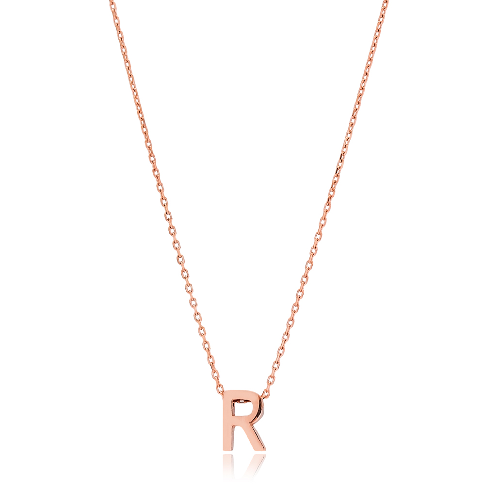 Alphabet R Letter Minimalist Design Necklace Turkish Wholesale Handmade 925 Sterling Silver Jewelry