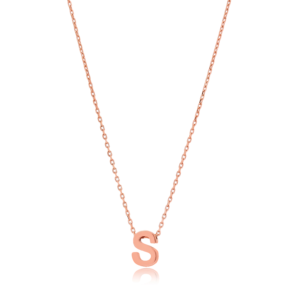 Alphabet S Letter Minimalist Design Necklace Turkish Wholesale Handmade 925 Sterling Silver Jewelry