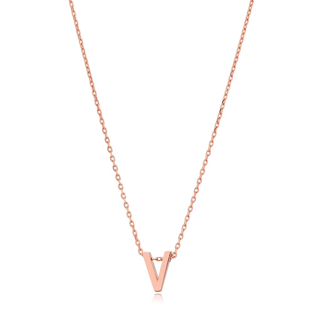 Alphabet V Letter Minimalist Design Necklace Turkish Wholesale Handmade 925 Sterling Silver Jewelry