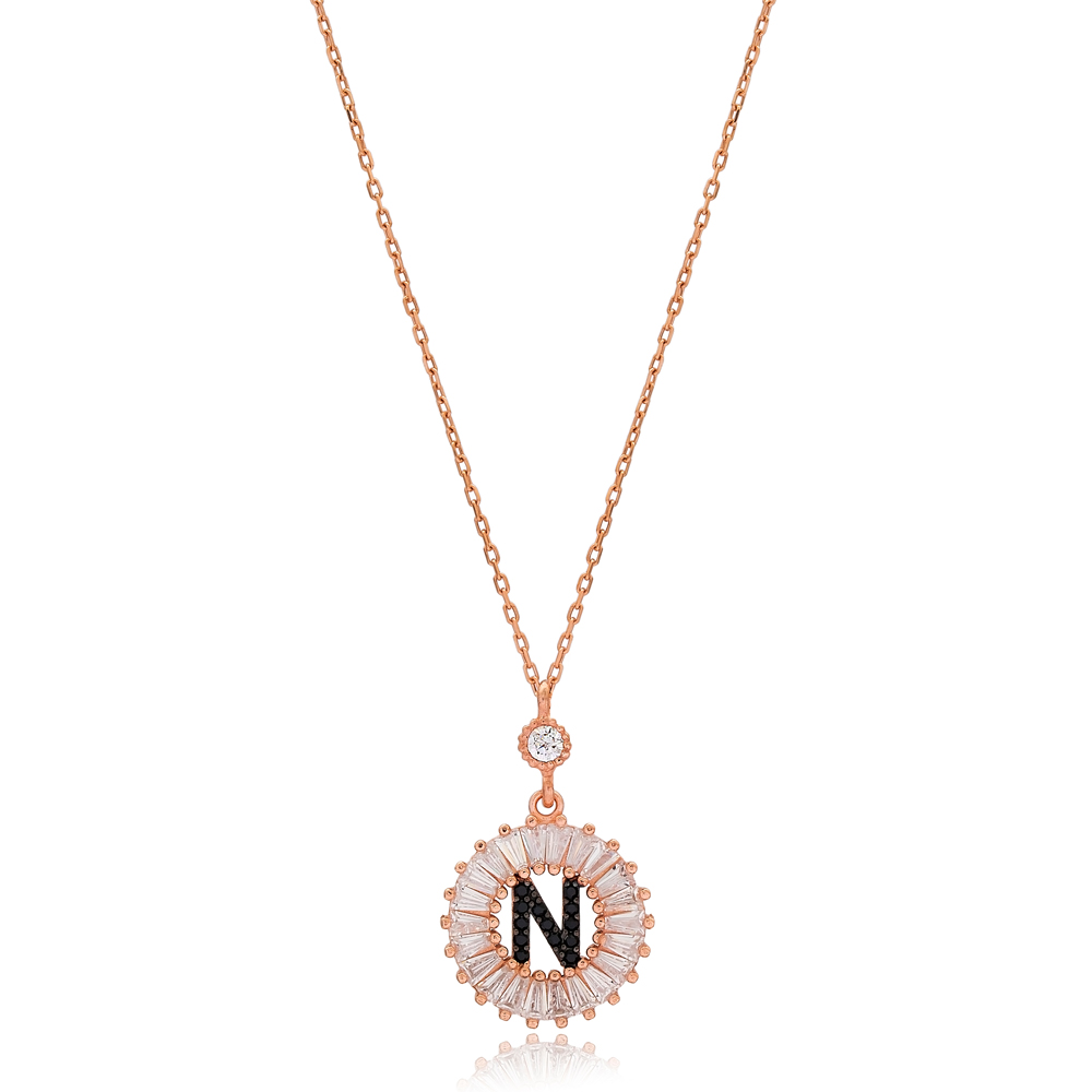 Alphabet N Letter Baguette Stone Design Necklace Turkish Wholesale Handmade 925 Sterling Silver Jewelry