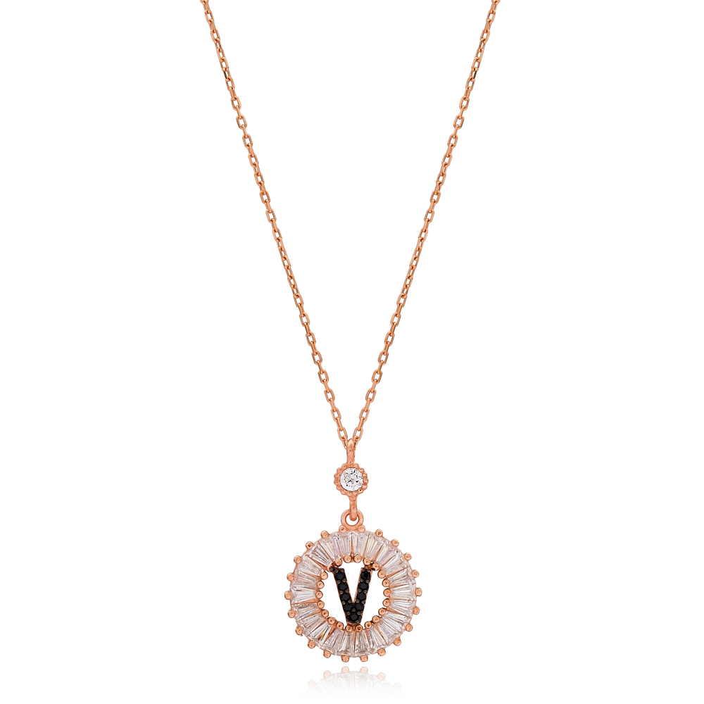 Alphabet V Letter Baguette Stone Design Necklace Turkish Wholesale Handmade 925 Sterling Silver Jewelry