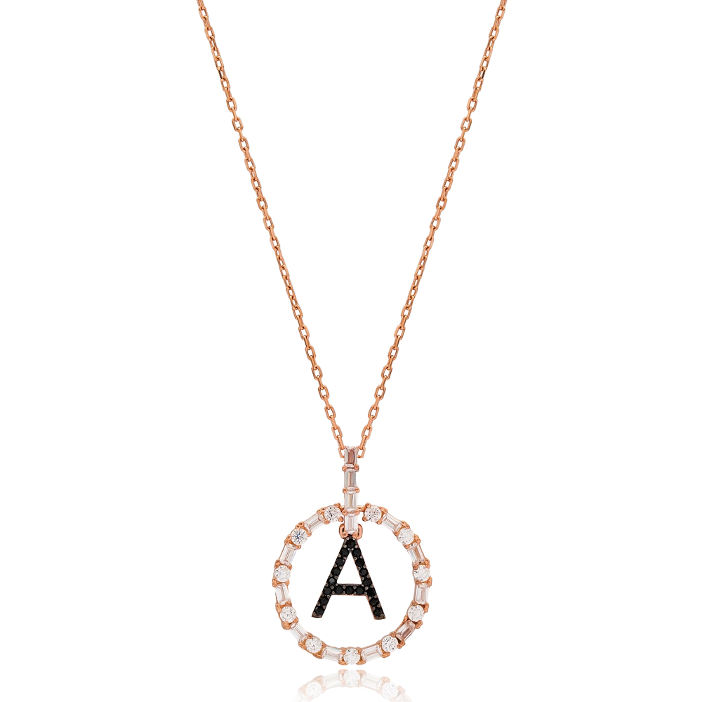 Alphabet A Letter Swinging Design Necklace Turkish Wholesale Handmade 925 Sterling Silver Jewelry