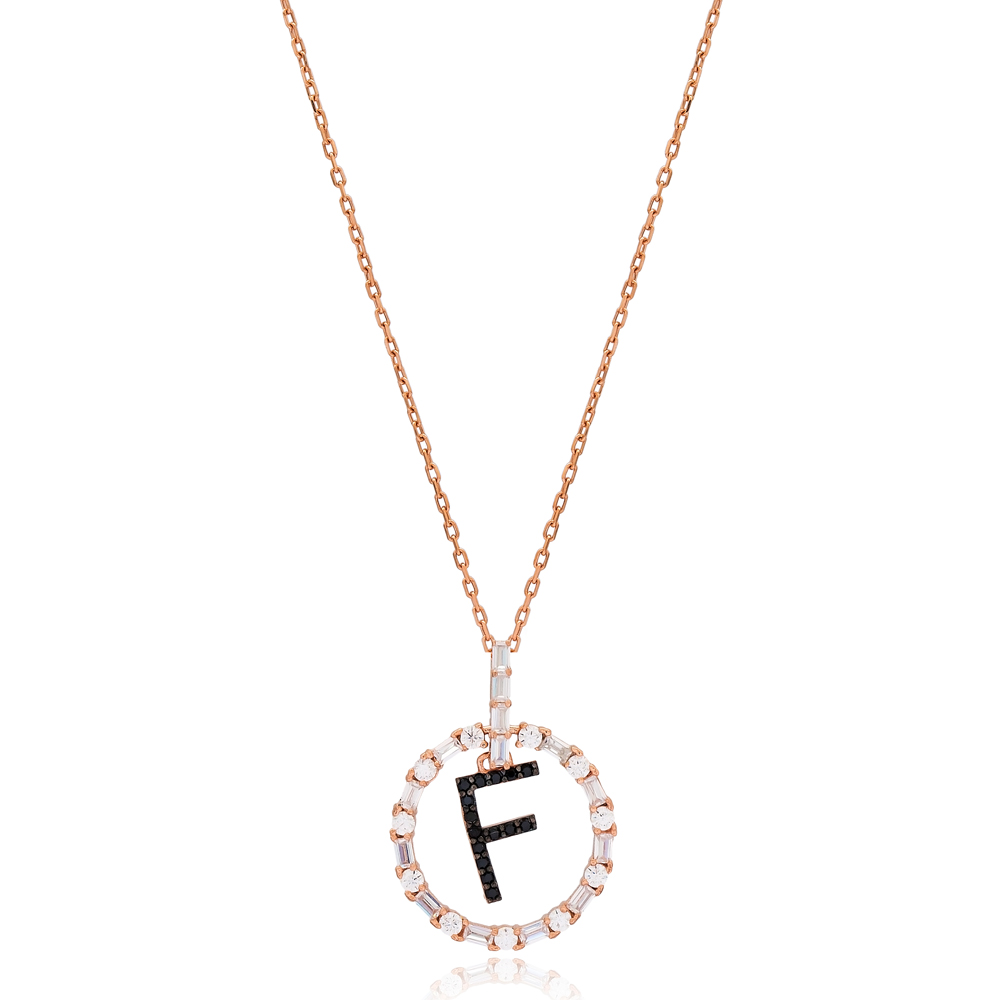 Alphabet F Letter Swinging Design Necklace Turkish Wholesale Handmade 925 Sterling Silver Jewelry