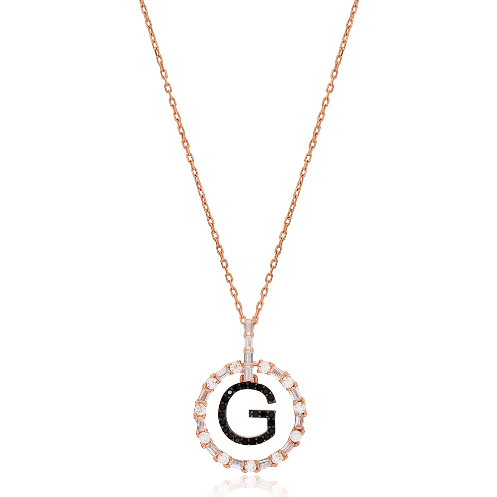 Alphabet G Letter Swinging Design Necklace Turkish Wholesale Handmade 925 Sterling Silver Jewelry