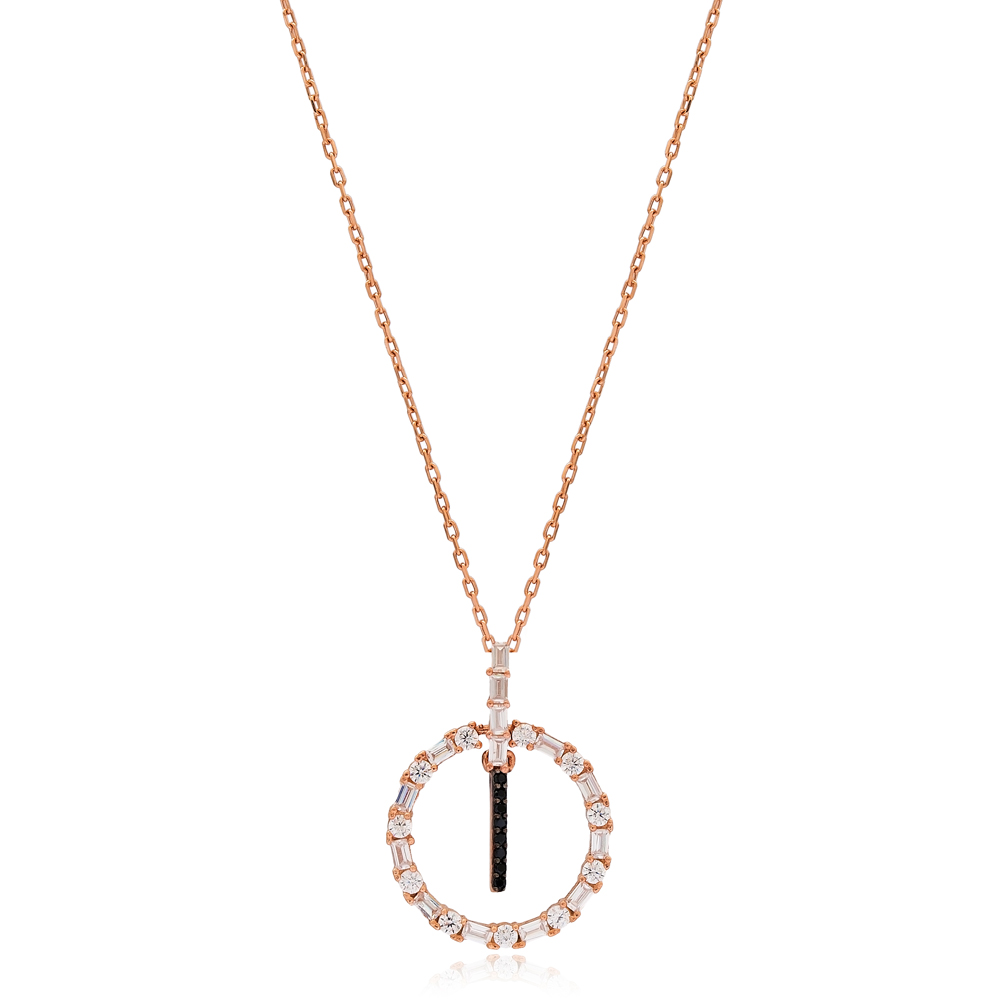 Alphabet I Letter Swinging Design Necklace Turkish Wholesale Handmade 925 Sterling Silver Jewelry
