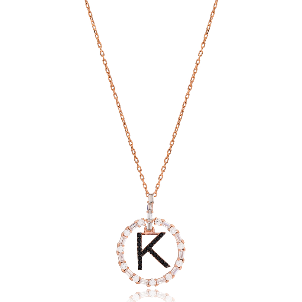 Alphabet K Letter Swinging Design Necklace Turkish Wholesale Handmade 925 Sterling Silver Jewelry