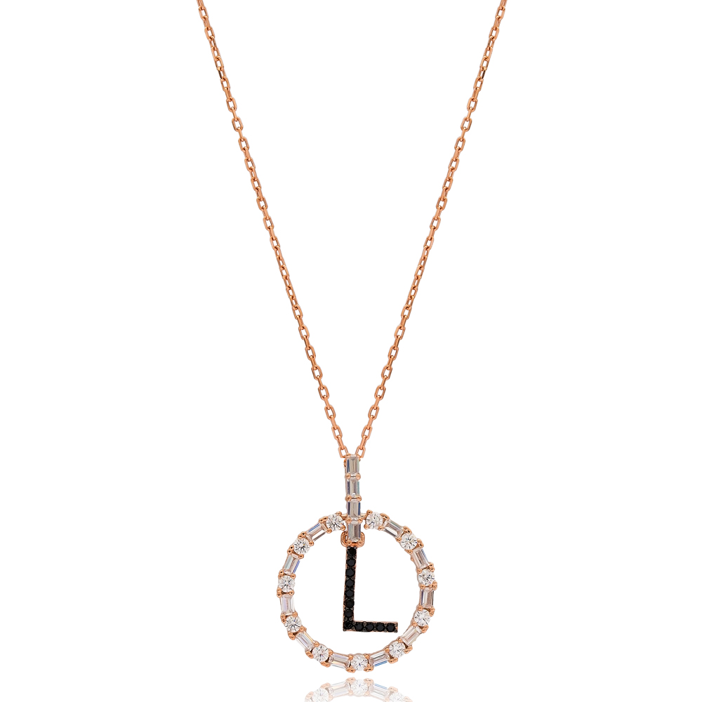 Alphabet L Letter Swinging Design Necklace Turkish Wholesale Handmade 925 Sterling Silver Jewelry