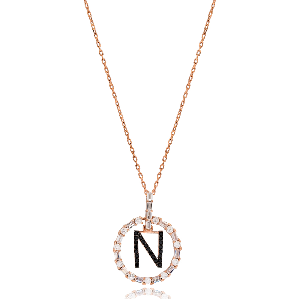 Alphabet N Letter Swinging Design Necklace Turkish Wholesale Handmade 925 Sterling Silver Jewelry
