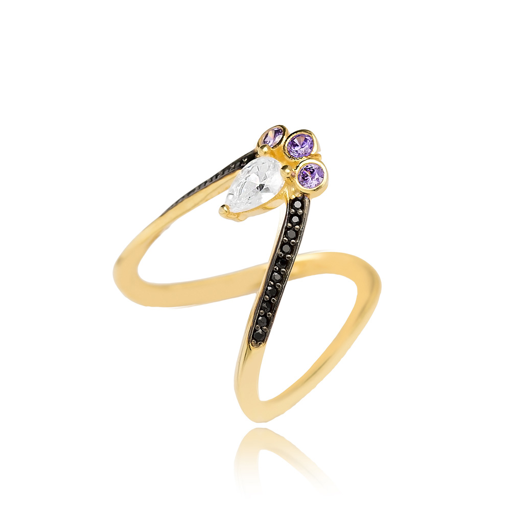 V Design With Zircon Stone Ring Wholesale Handcrafted Silver Jewelry