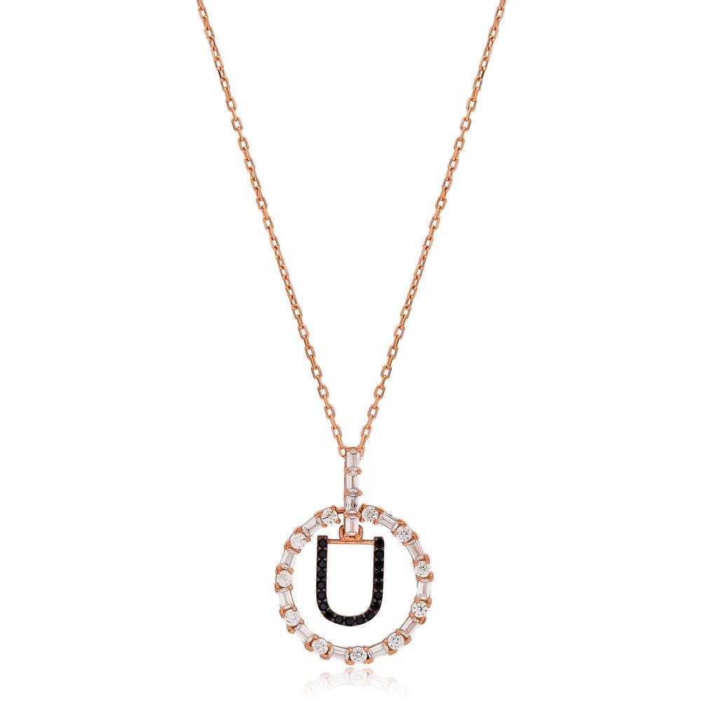Alphabet U Letter Swinging Design Necklace Turkish Wholesale Handmade 925 Sterling Silver Jewelry