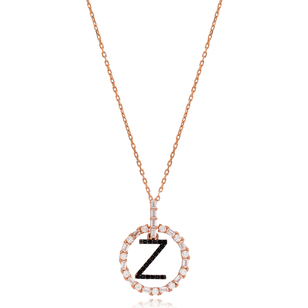 Alphabet Z Letter Swinging Design Necklace Turkish Wholesale Handmade 925 Sterling Silver Jewelry