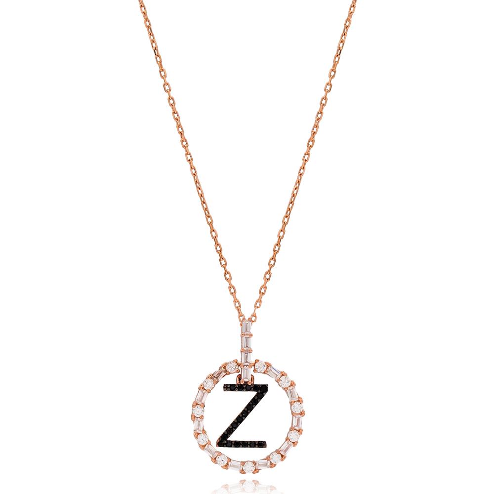 Alphabet Z Letter Swinging Design Necklace Turkish Wholesale Handmade 925 Sterling Silver Jewelry