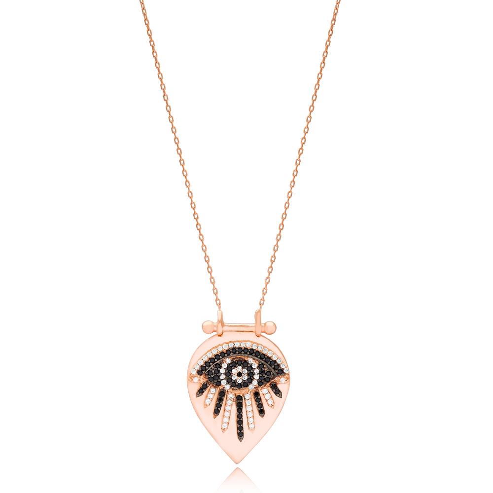 Eye Design Drop Shape Necklace Turkish Wholesale Handmade 925 Silver Sterling Jewelry
