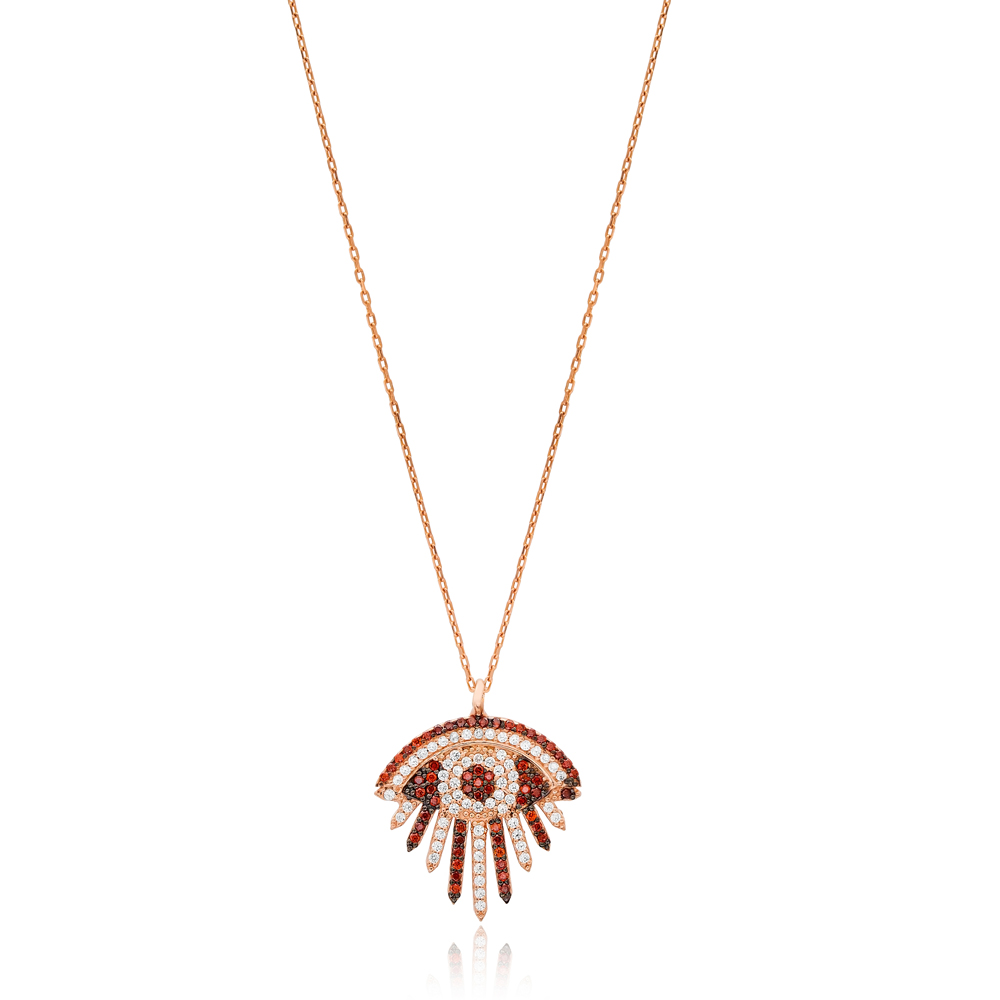 Elegant Evil Eye Charm Citrine Stone Design Necklace Turkish Wholesale Handmade 925 Silver Sterling Jewelry