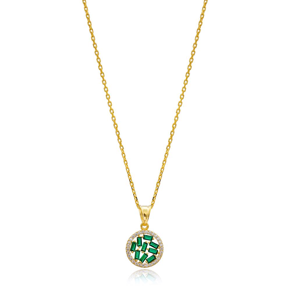 Emerald Baguette Zircon Stone Necklace Handmade Wholesale 925 Silver Sterling Jewelry