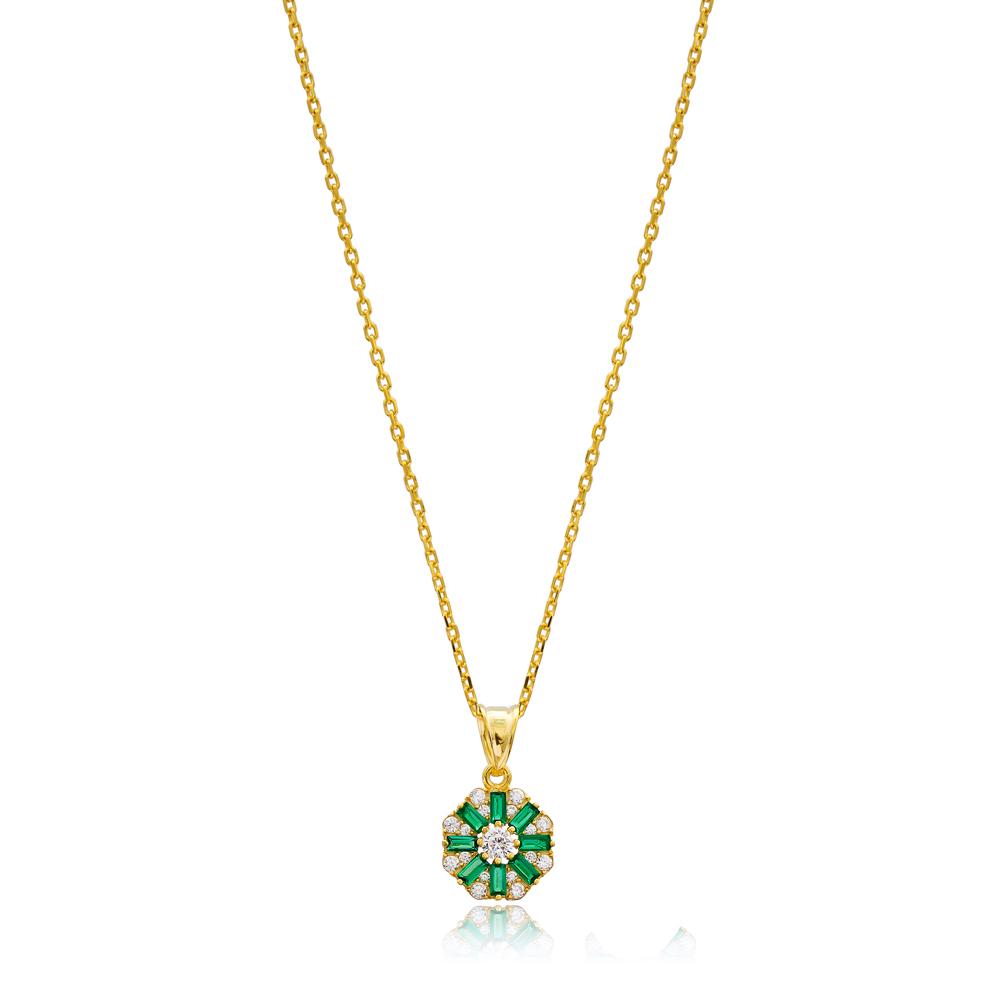 Dainty Emerald Baguette Pendant Handmade Wholesale 925 Silver Sterling Jewelry