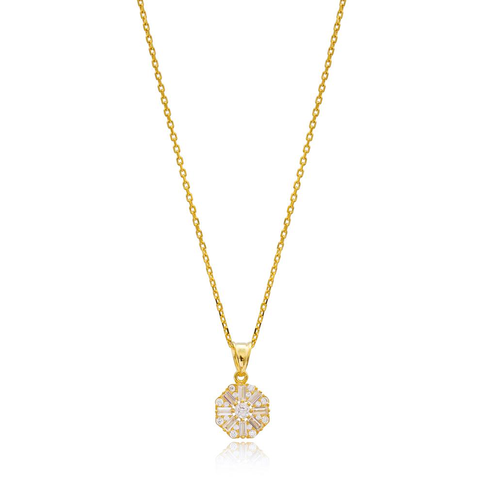 Zircon Dainty Baguette Necklace Handmade Wholesale 925 Silver Sterling Pendant