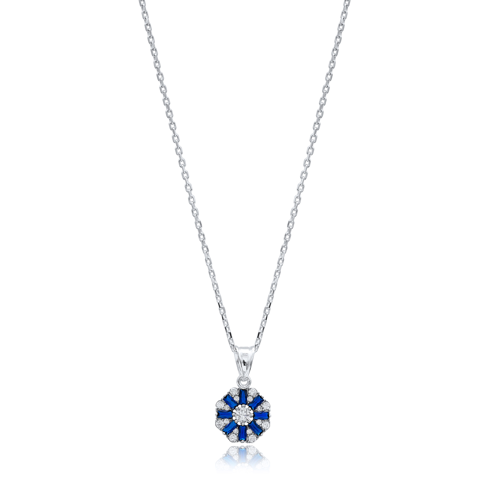 Sapphire Stone Dainty Baguette Necklace Handmade Wholesale 925 Silver Sterling Pendant