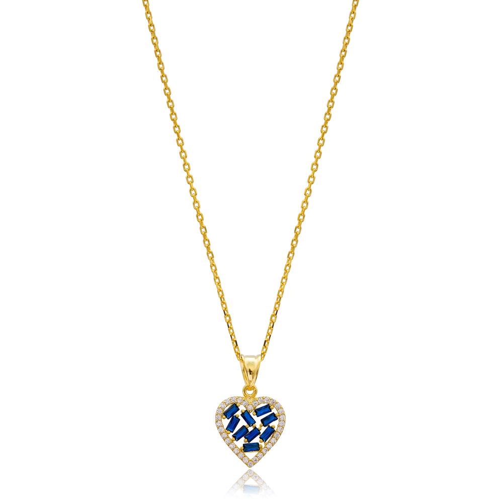 Heart Design Sapphire Baguette Zircon Stone 925 Sterling Silver Wholesale Necklace