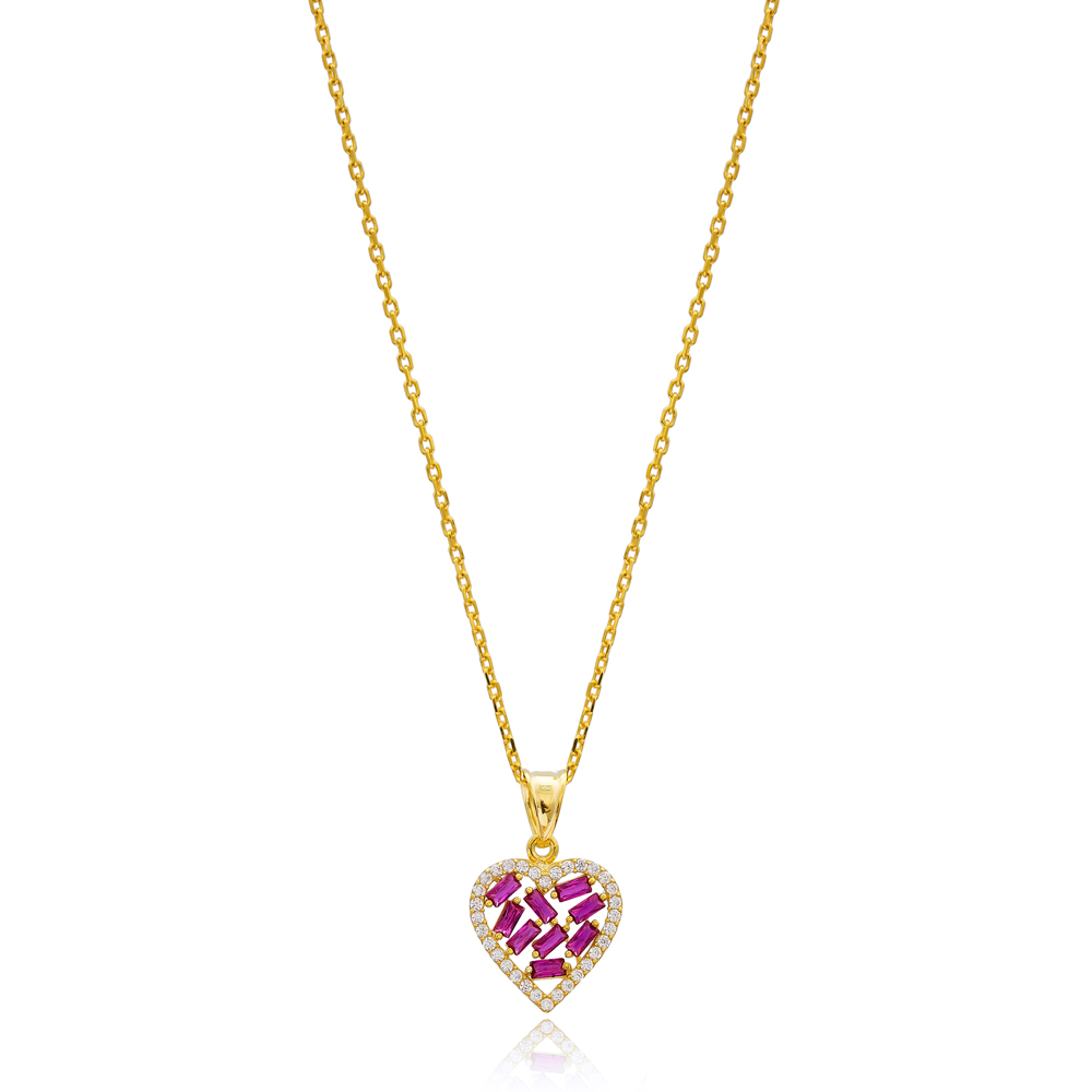 Ruby Baguette Heart Design Zircon Stone 925 Sterling Silver Wholesale Necklace