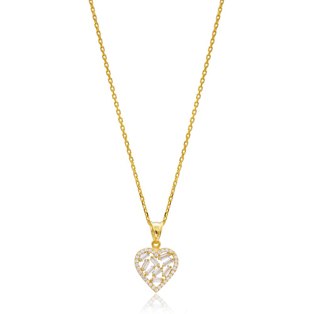 Trendy Baguette Heart Design Zircon Stone 925 Sterling Silver Wholesale Necklace