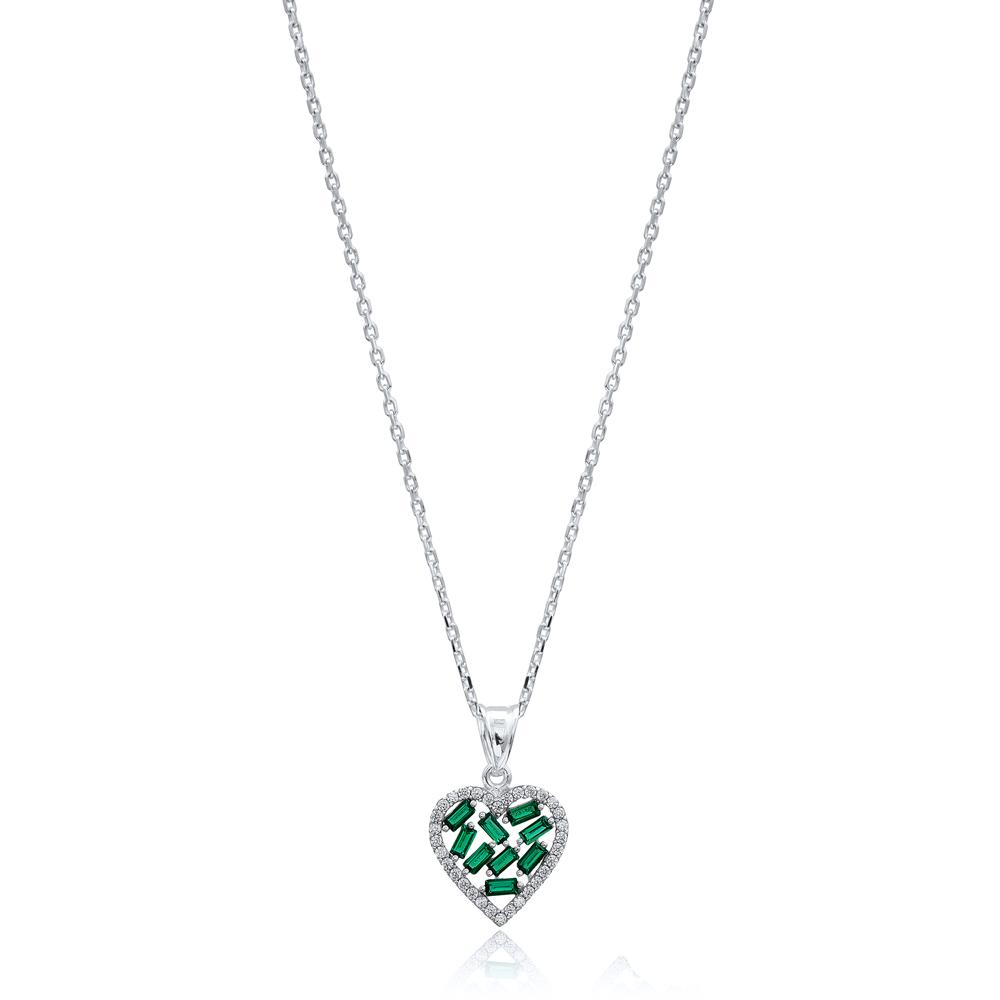 Heart Design Emerald Baguette Zircon Handmade 925 Sterling Silver Wholesale Necklace