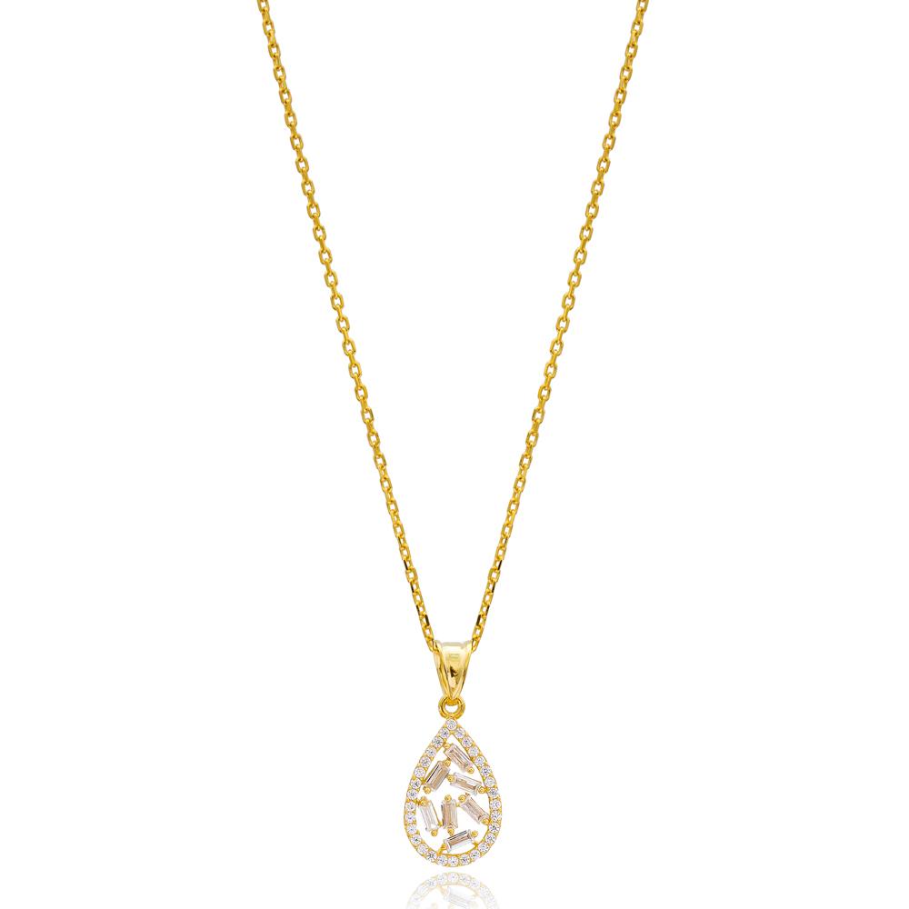 Baguette Zircon Drop Design Handcrafted 925 Sterling Silver Wholesale Necklace