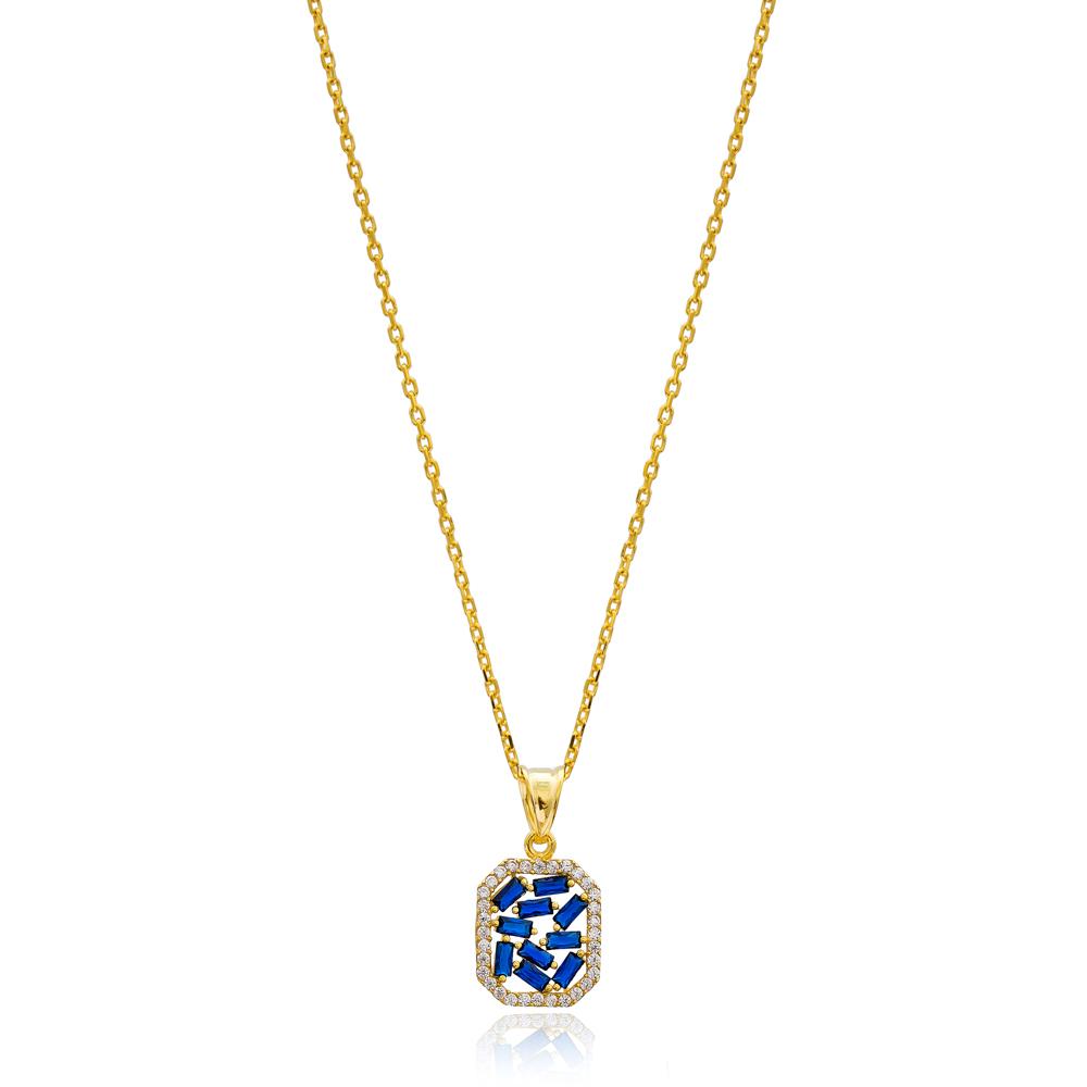 New Design Sapphire Baguette Pendant Handmade 925 Sterling Silver Wholesale Necklace