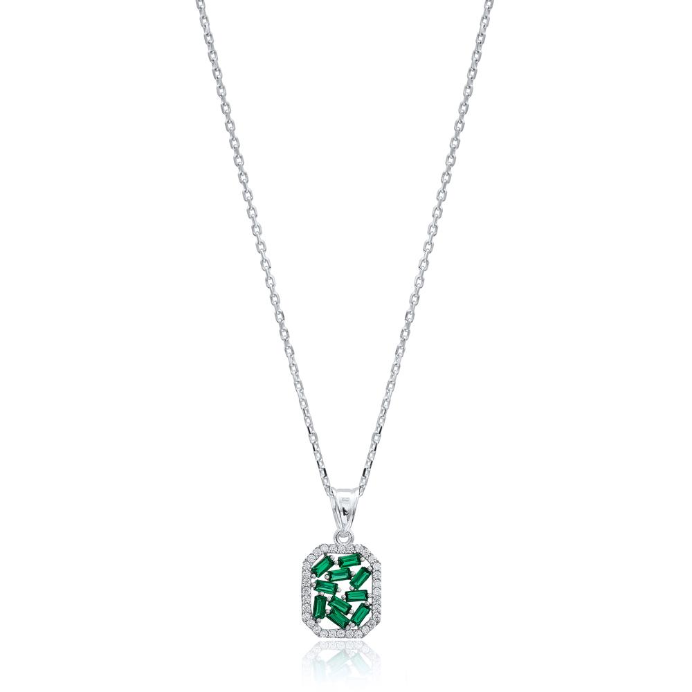 Emerald Baguette New Design Pendant Handmade 925 Sterling Silver Wholesale Necklace