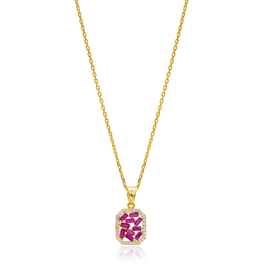 Trendy Ruby Baguette Pendant Handmade 925 Sterling Silver Wholesale Necklace