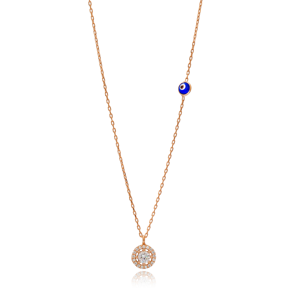 Round Design with Evil Eye Wholesale Minimalist Pendant Handmade 925 Silver Sterling Charm Necklace