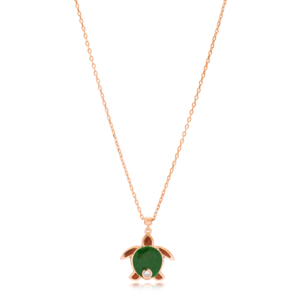Turtle Design Enamel Pendant Wholesale 925 Sterling Silver Jewelry