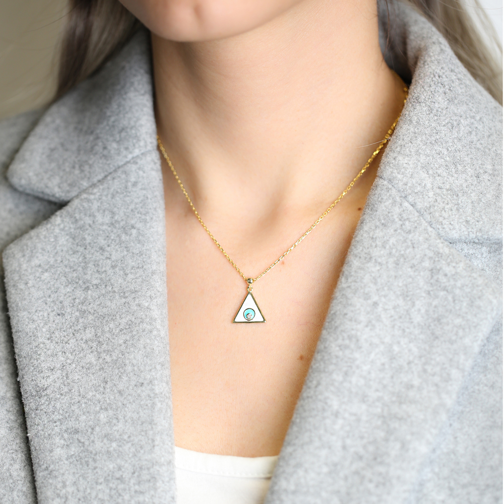 Enamel Triangle Design Pendant Wholesale 925 Sterling Silver Jewelry