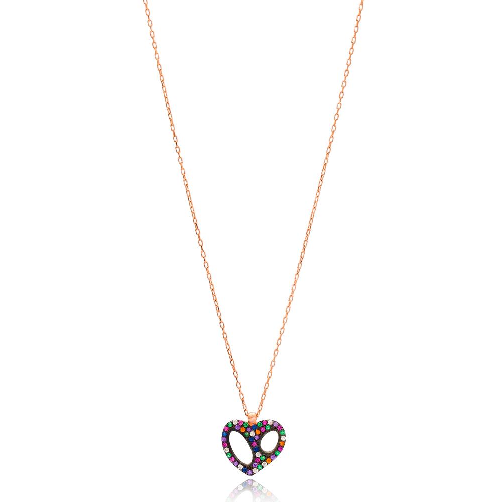 Mix Stone Heart Design Pendant Wholesale Handmade 925 Sterling Silver Jewelry